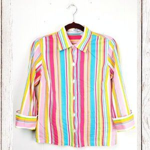 IZOD Rainbow Stripe Button Top